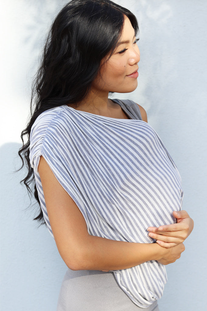 Nursing Cover Up & Baby Set - White with Grey Stripe
