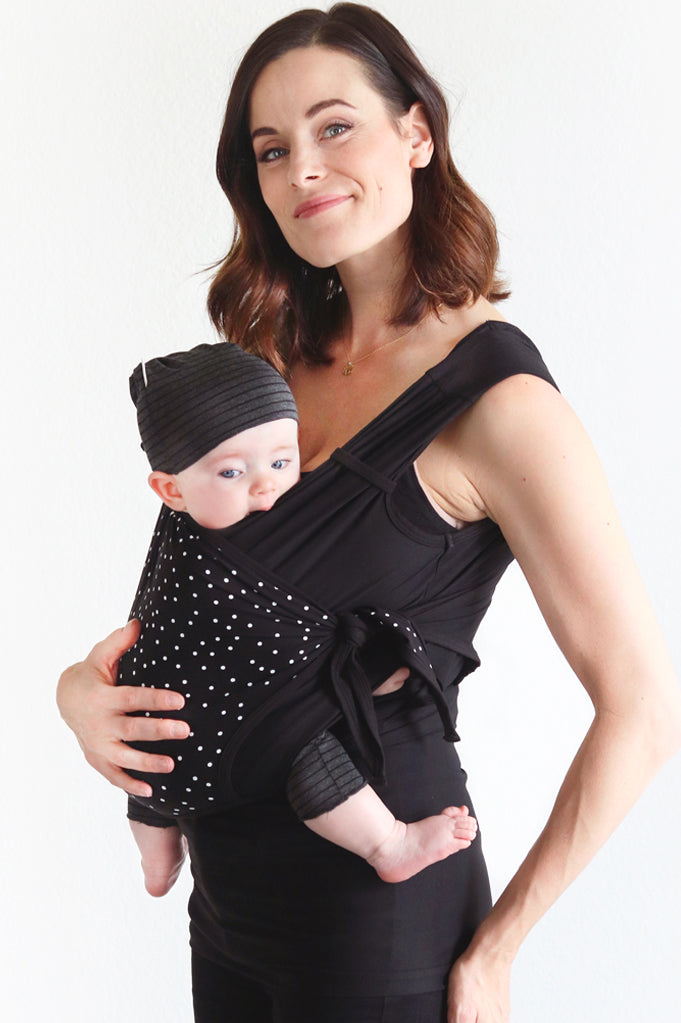 Nesting Days Polka Dot Carrier with newborn baby