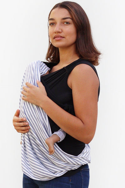 Nursing Cover Up - White with Grey Stripe