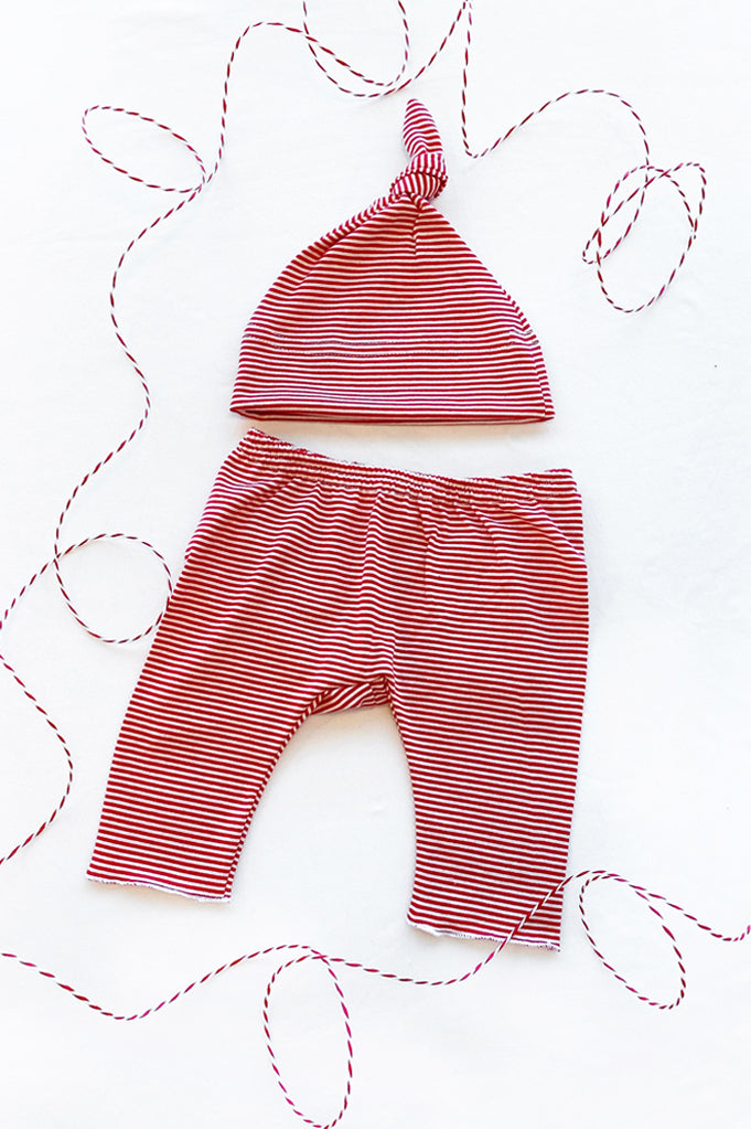 Baby Pants & Hat - Holiday Newborn Set | White With Red Stripe
