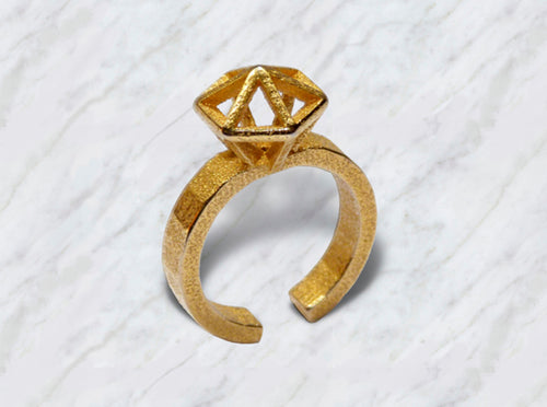 Gold Stereodiamond Ring 3d printed Gold Stereodiamond 2