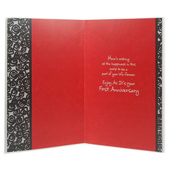 Wishes For You Happy First Anniversary Greeting Card