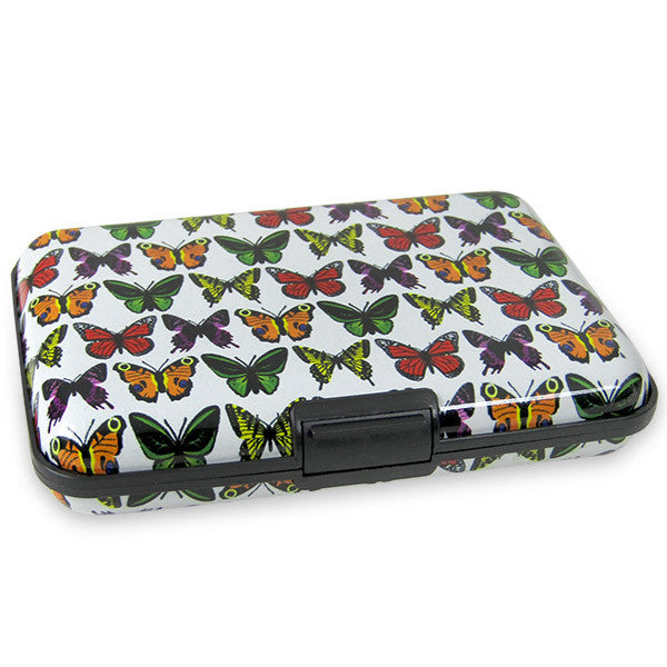 White Card Holder With Butterflies