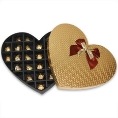 Chocolates In Golden Heart Gift Box |chocolate for Valentine