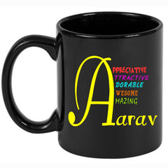 Black Alphabet Personalised Mug