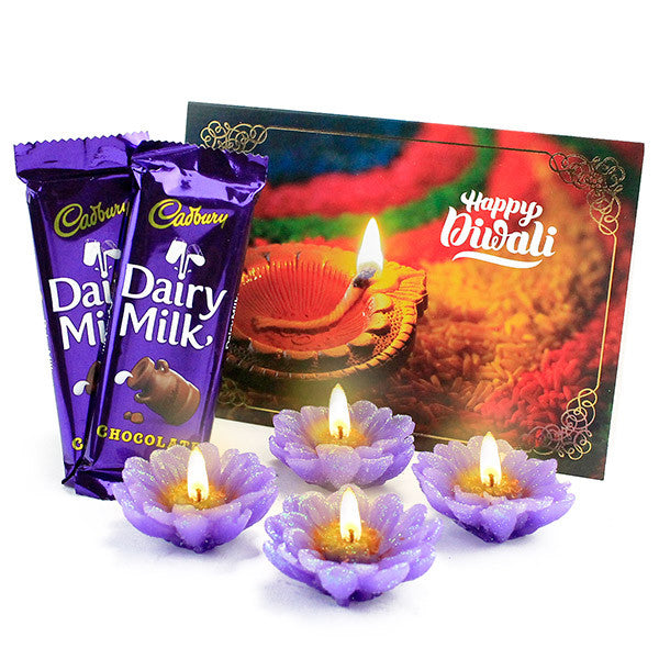 Floral Candle Set & Dairy Milk Chocolates Hamper