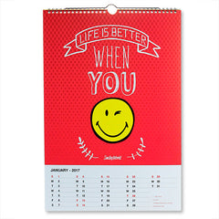 Smiley World New Year Slim Wall Calendar