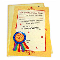 Greatest Sister Certificate