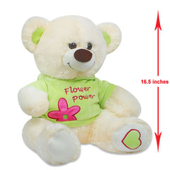 Cream & Green Teddy Bear - 16.5 Inch