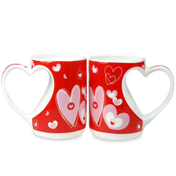 Couple Mug Set With Heart Handle