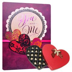 you and me card With chocolates for valentine