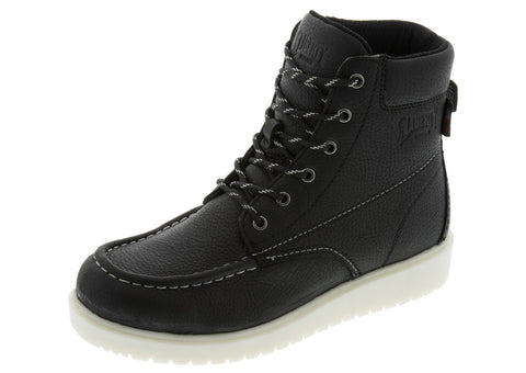Black Gary 6 Inch Moc Toe Wedge Boot