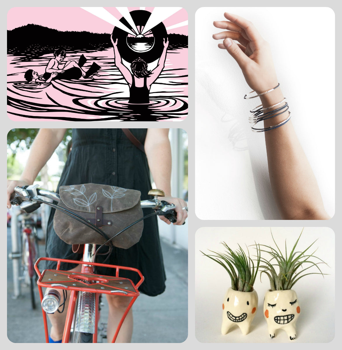 rebeccas gift guide nikki mcclure calendar moo young bangles bang bang ceramics handlebar bag waxed canvas bike