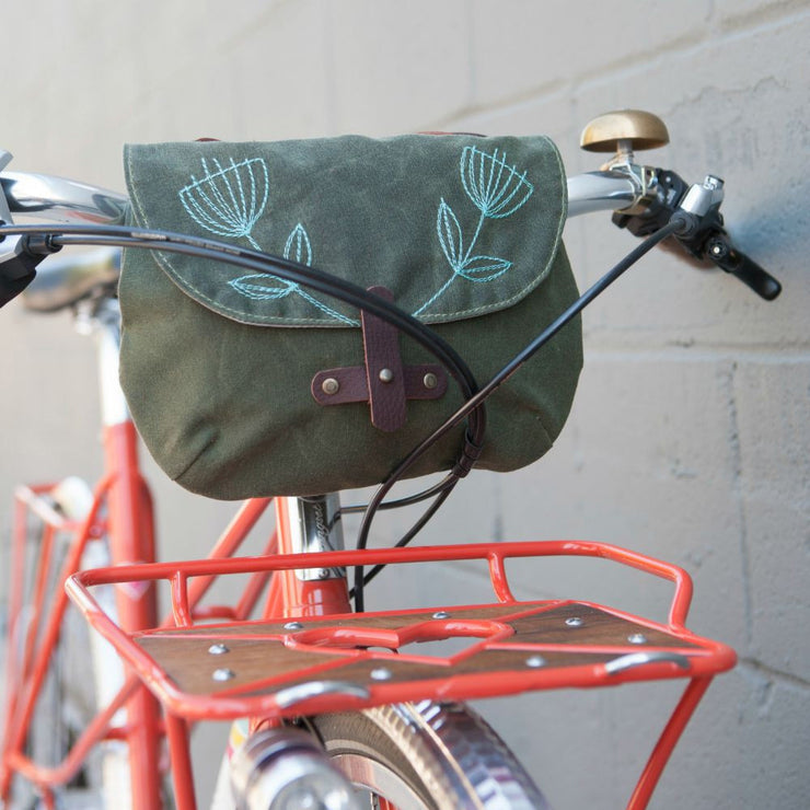 Waxed Canvas Handlebar Bag - 'Anise'