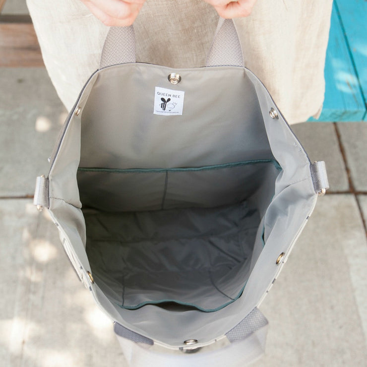 Kittie Canvas Tote Bike Pannier - 'Ginkgo Drizzle'