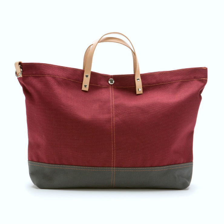 Color Block Vessel Tote Bag - Large Wine