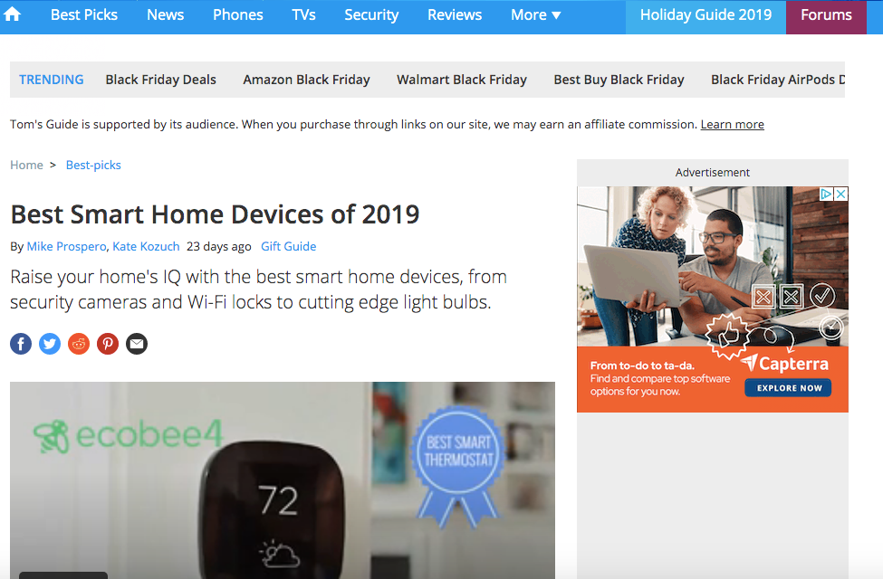 Tom's Guide 'Best Smart Home Devices of 2019'