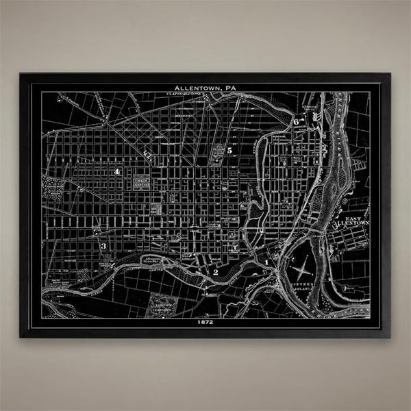 Map Print, ALLENTOWN PA - Map Prints by GeoArtShed  - 1