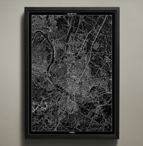 Map Print, AUSTIN - Map Prints by GeoArtShed  - 1