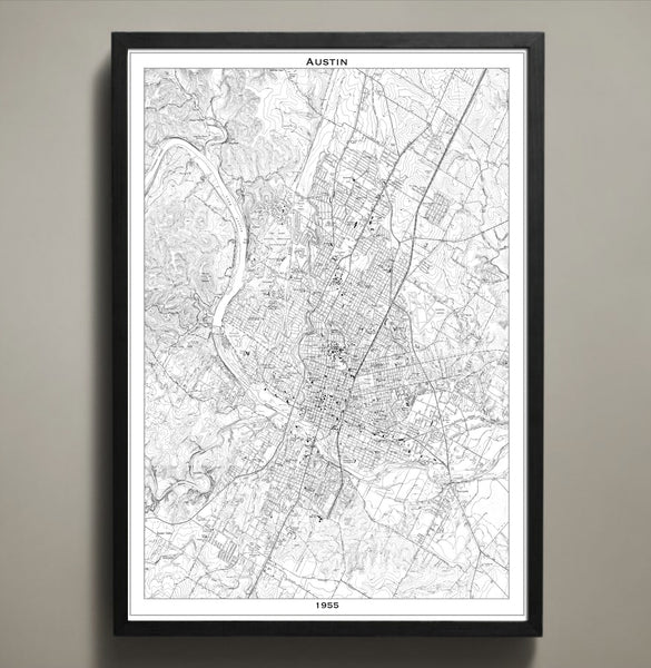 Map Print, AUSTIN - Map Prints by GeoArtShed  - 2