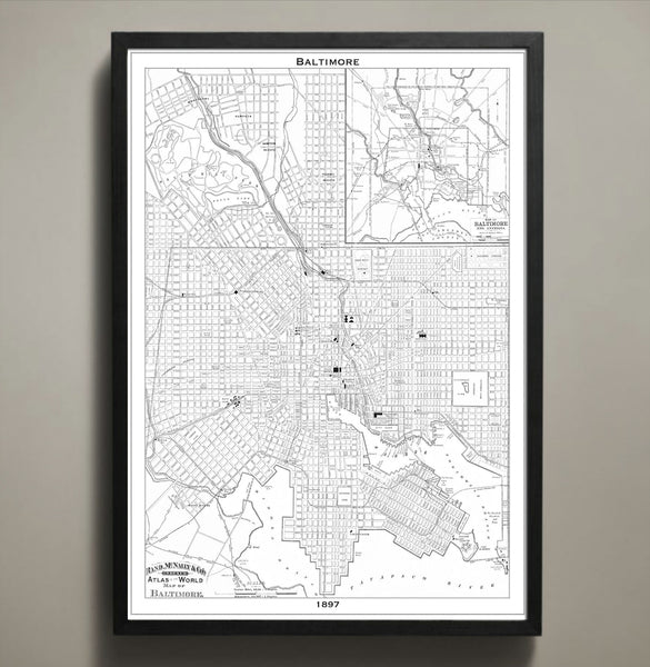 Map Print, BALTIMORE - Map Prints by GeoArtShed  - 2
