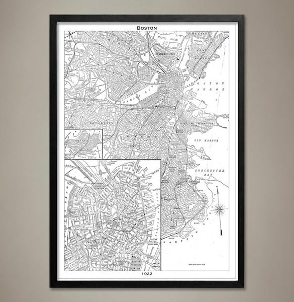 Map Print, BOSTON - Map Prints by GeoArtShed  - 2