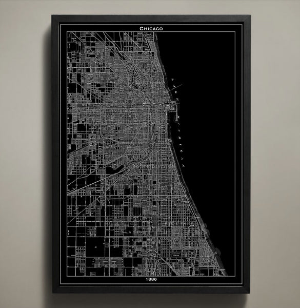 Map Print, CHICAGO - Map Prints by GeoArtShed  - 2