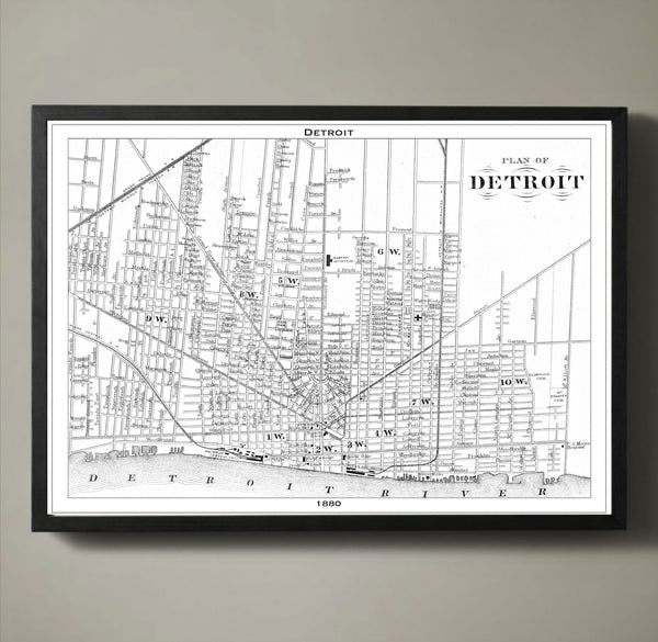 Map Print, DETROIT - Map Prints by GeoArtShed  - 1