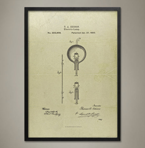 Edison Lightbulb Patent Print - Map Prints by GeoArtShed  - 1
