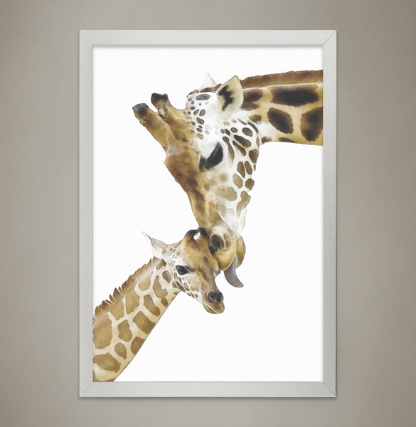 Giraffe Family Print Animal Print Nursery Wall Decor