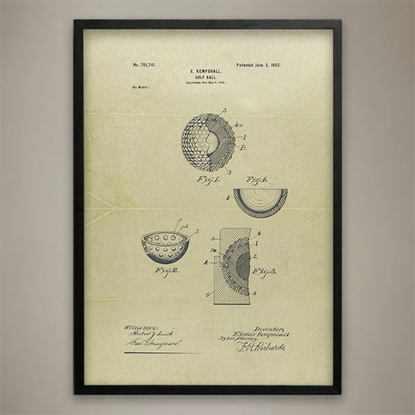 Golf Ball Patent Print - Map Prints by GeoArtShed  - 1