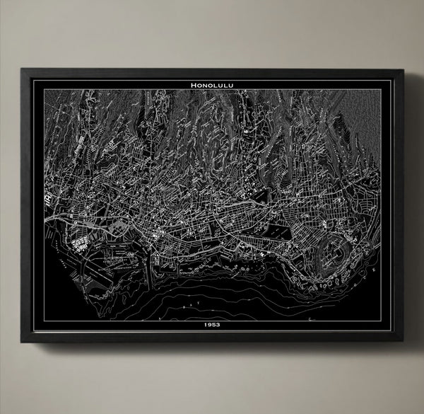 Map Print, HONOLULU - Map Prints by GeoArtShed  - 1