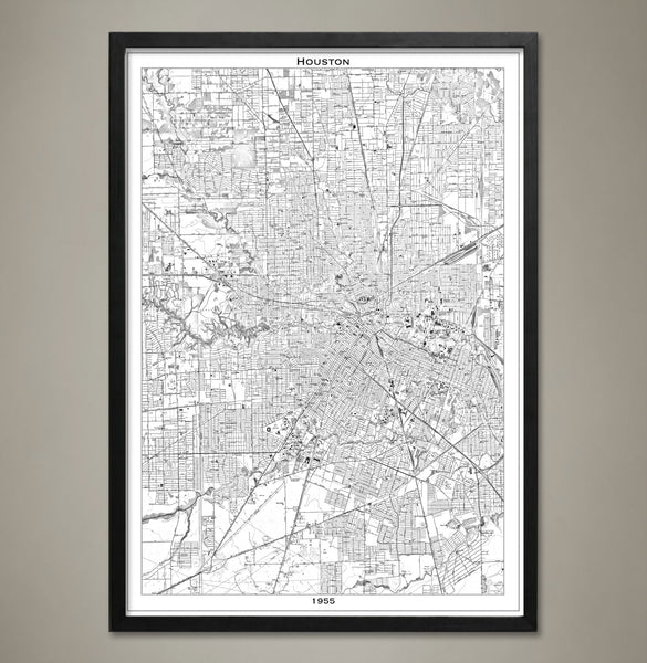 Map Print, Houston - Map Prints by GeoArtShed  - 2
