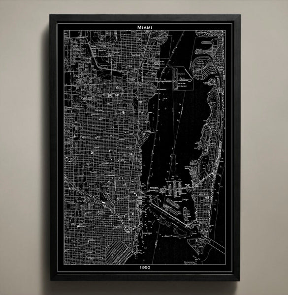 Map Print, MIAMI - Map Prints by GeoArtShed  - 1