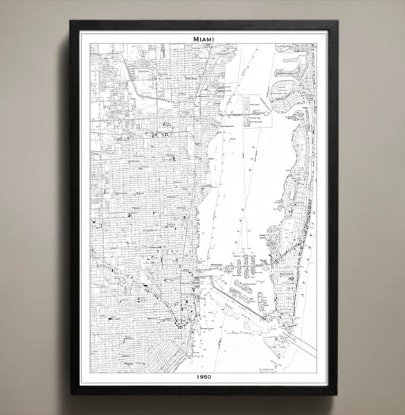 Map Print, MIAMI - Map Prints by GeoArtShed  - 2