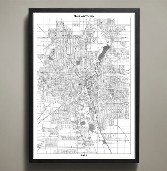 Map Print, SAN ANTONIO - Map Prints by GeoArtShed  - 2