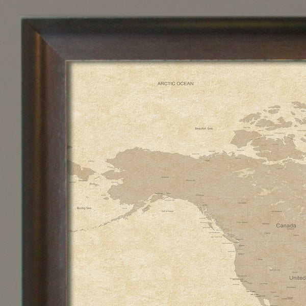 Push Pin Travel Map - Vintage Stained