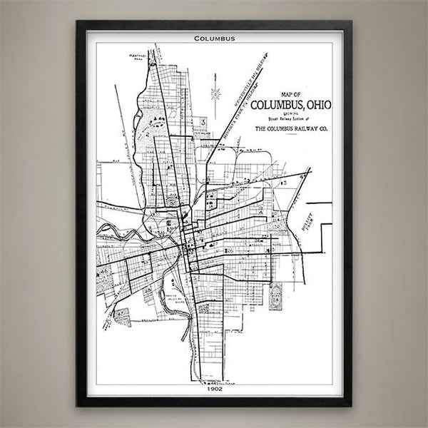 Map Print, Columbus - Map Prints by GeoArtShed  - 2