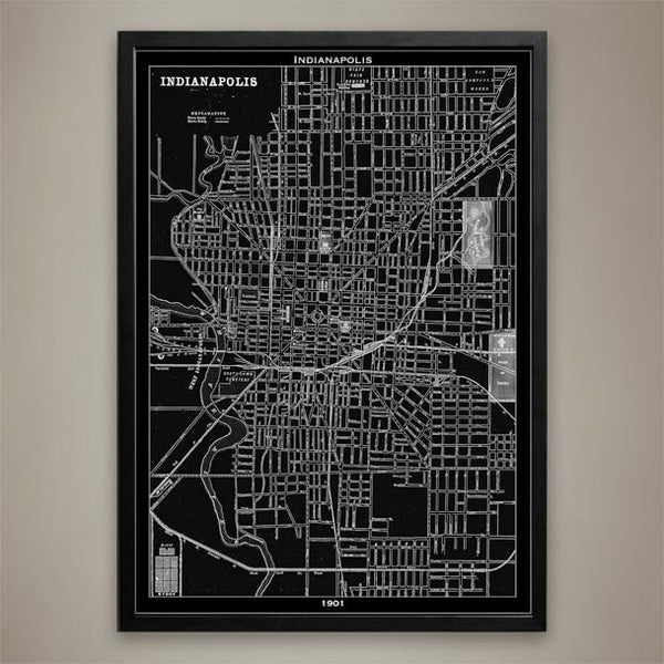 Map Print, Indianapolis - Map Prints by GeoArtShed  - 1