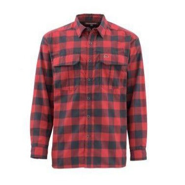 Simms Men's Coldweather Long Sleeve Shirt-MENS CLOTHING-Simms Fishing Products-RED BUFFALO-XL-Kevin's Fine Outdoor Gear & Apparel