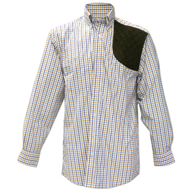 Kevin's Performance Orange/Blue Plaid Left Hand Shooting Shirt-MENS CLOTHING-Kevin's Fine Outdoor Gear & Apparel