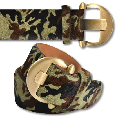 Kevin's Crescent Camo Calf Hair Belt
