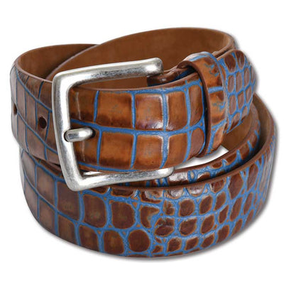 "Kevin's 1 3/8"" Two Tone Embossed Croc Belt"
