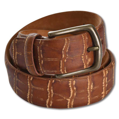 "Kevin's 1 3/8"" Distressed Embossed Croc Belt"