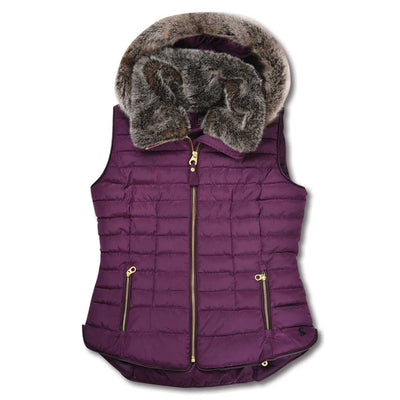 Joules Women's Padded Gilet with Faux Fur Hood-Liquidate-BURGUNDY-10-Kevin's Fine Outdoor Gear & Apparel