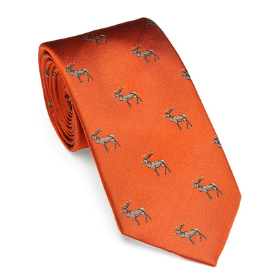 Laksen Silk Tie With Deer Motif