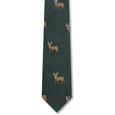 Kevin's Finest Stag Silk Tie-MENS CLOTHING-GREEN-Kevin's Fine Outdoor Gear & Apparel