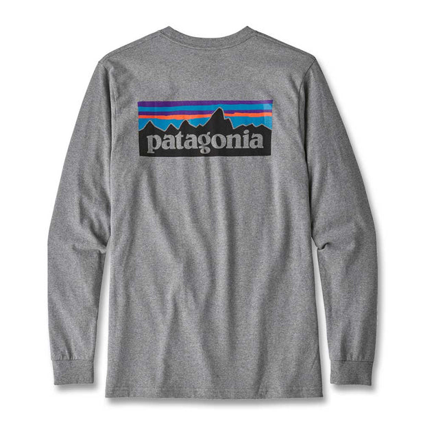 Patagonia Men's Long Sleeve P-6 Logo Responsibili-Tee T-Shirt-MENS CLOTHING-GRAVEL HEATHER-L-Kevin's Fine Outdoor Gear & Apparel