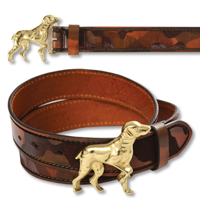 Ladies Leather Camo Pattern Belt with Hunt Dog Buckle