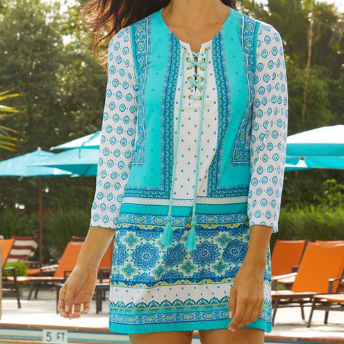 Cabana Life Aqua Front-Tie Cover Up